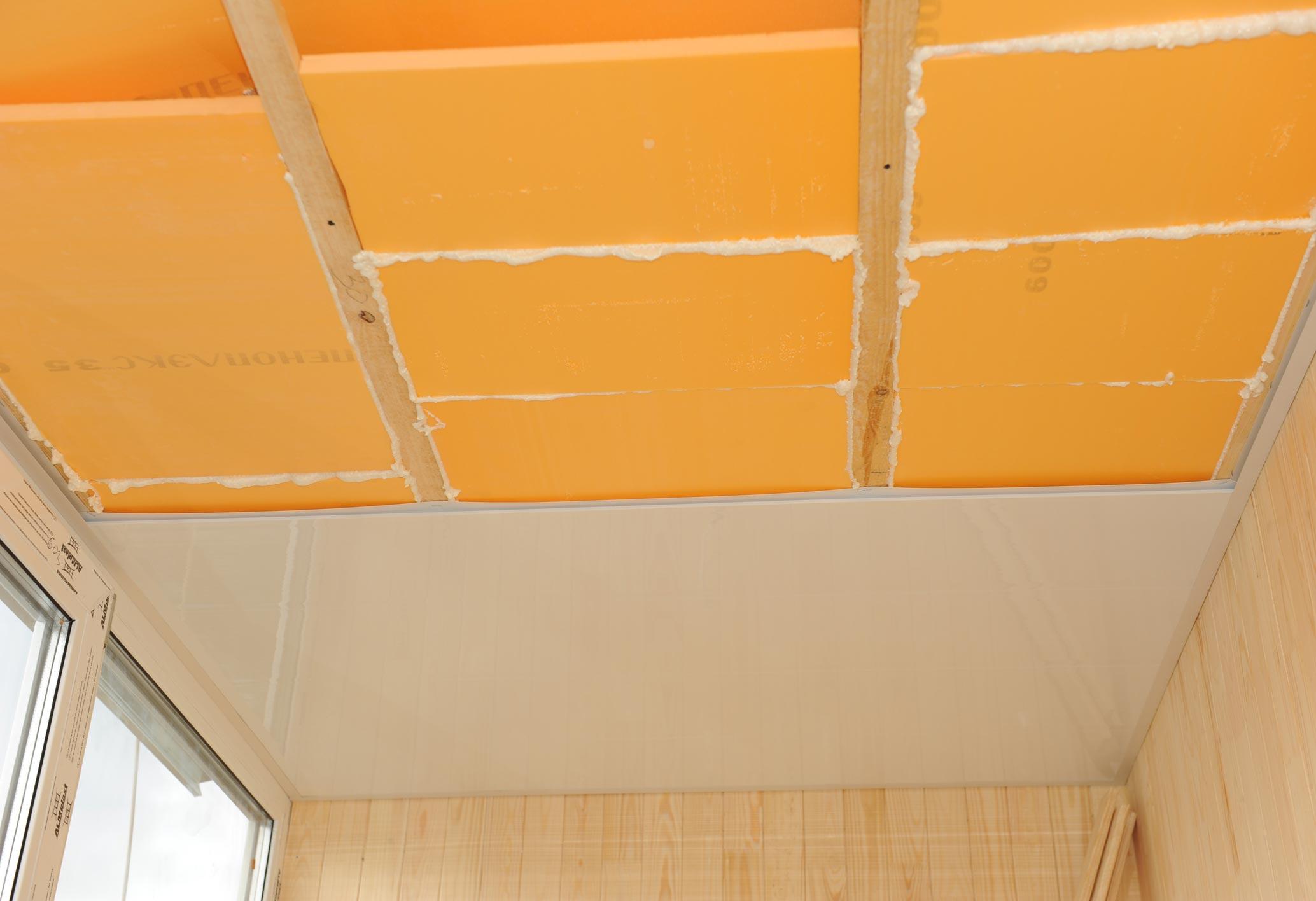 Утепление потолка балкона пеноплексом.